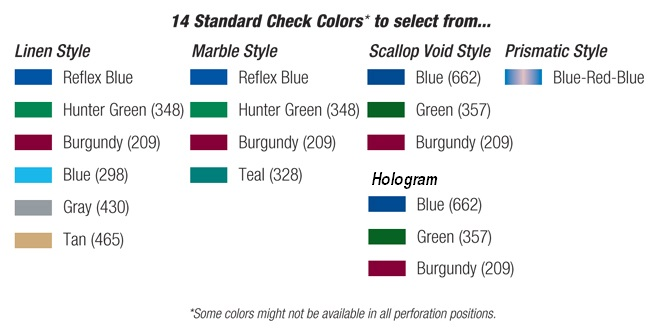 Standard Check Color Options
